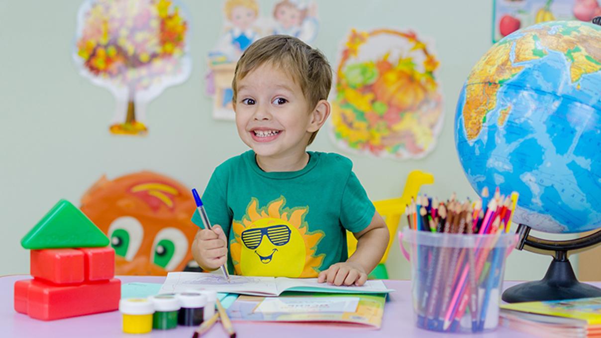 happy school kid school supplies